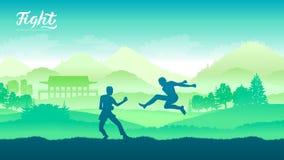 Arti marziali dei guerrieri della Cina royalty illustrazione gratis