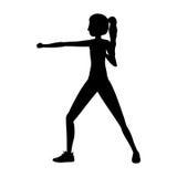 Arti marziali della donna della siluetta che stanno pugno royalty illustrazione gratis