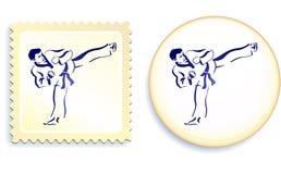 Arti marziali sull'insieme del bottone e del bollo Fotografie Stock Libere da Diritti
