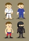 Arti marziali uniforme ed illustrazione di vettore delle attrezzature Fotografia Stock