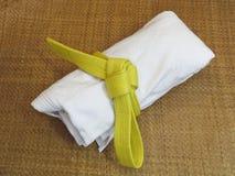 Arti marziali uniformi su Tatami immagine stock