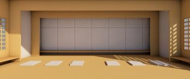 Arti moderne e mostra e sedili della galleria minimi sul pavimento di legno illustrazione di stock