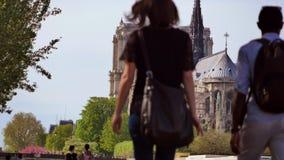 Arti-Notre Dame Cathedral, Parigi del DES di Pont stock footage