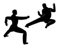 Artial art kick. Illustration of a man demontrating martial art kick Royalty Free Stock Images
