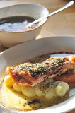 Artic char fish. Japanese Style artic char fish with Soup stock image