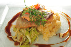 Artic char salmon. Japanese Style artic char and salmon fish stock photos