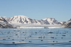 Artic landscape. Artic ice, iceberg near north pole pack, svalbard island, july 2008 royalty free stock photo