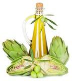 Artichaut et huile d'olive Image stock