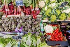 Artichauts d'Organig, tomates, cauliflowerfor et d'autres produits frais à vendre sur le marché d'agriculteurs image stock