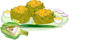Artichockes bourrés avec le citron, le radisssh et l'oignon illustration de vecteur