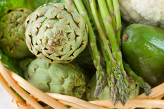 Artichoke with asparagus Royalty Free Stock Images