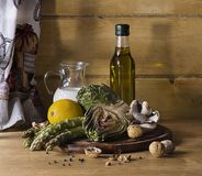 Artichoke asparagus mushroom and milk recipe Royalty Free Stock Image