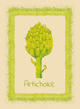 Artichoke & border. Beautiful green grunge frame with watercolor artichoke Royalty Free Stock Photography