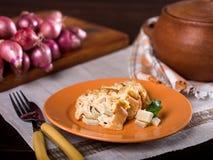 Artichoke bread pudding, Budin de alcachofas Stock Images