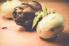 artichoke and cabbage turnip still life Stock Image