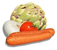 Artichoke, carrots, tomatoe and onion. Isolated artichoke, carrots, tomatoe and onion on white background Royalty Free Stock Images