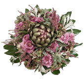 Artichoke and chrysanthemum autumn arrangement Stock Photo