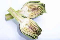 Artichoke (Cynara cardunculus, Syn. Cynara scolymus) cut in half, elevated view Royalty Free Stock Image