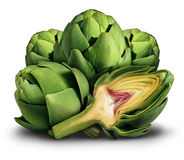 Artichoke. Fresh healthy food as a symbol of the mediterranean diet or eating nutritious market green vegetables as a bunch of produce on a white background Royalty Free Stock Photo