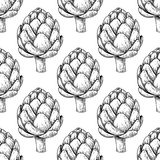 Artichoke hand drawn vector seamless pattern.  Vegetable engraved style background. Stock Images