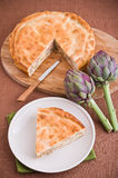 Artichoke Pie. Perspective of artichoke pie with ingredients Royalty Free Stock Images