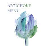 Artichoke  poster  watercolor illustratio Stock Photos
