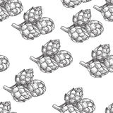 Artichoke Seamless nature seamless vector pattern, hand drawn sketch etch engraving vector illustration.Vegetables Royalty Free Stock Images