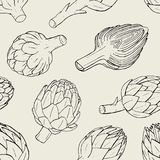 Artichoke seamless pattern with hand drawn cutaway plant. Contour vector illustration. Artichoke seamless pattern with hand drawn cutaway plant. Contour vector Stock Photos