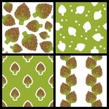 Artichoke Seamless Patterns Set Royalty Free Stock Photo
