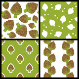 Artichoke Seamless Patterns Set Royalty Free Stock Photo