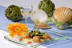 Artichoke and shellfish Royalty Free Stock Images
