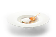 Artichoke Soup. Cream of Sunroot Soup with Shrimps and Tartufo Stock Photography