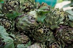 Artichoke vegetable close up, Background of fresh artichokes. Mediterranean vegetable. Maltese vegetable. Artichoke vegetable close up, Background of fresh Stock Photo