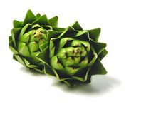 Artichokes. Two artichokes royalty free stock photography