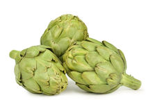 Artichokes. Group of artichokes isolated on white Royalty Free Stock Images