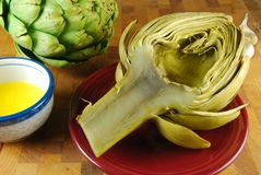 Artichokes And Butter Royalty Free Stock Image