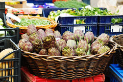 Artichokes in a basket Stock Images