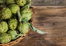 Artichokes in the basket Royalty Free Stock Images