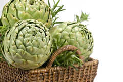 Artichokes in Basket - horizontal stock photo