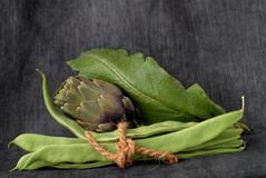 Artichokes and beans Stock Photo