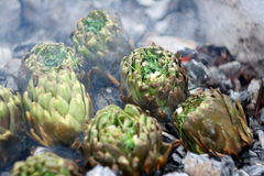 Artichokes on ember BBQ close up Royalty Free Stock Photography