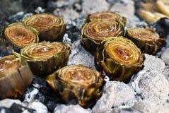 Artichokes on ember BBQ. Sicilian Recipe. close up Stock Photos