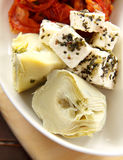 Artichokes And Feta Cheese Royalty Free Stock Photo