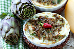 Artichokes Flan Closeup Stock Photos
