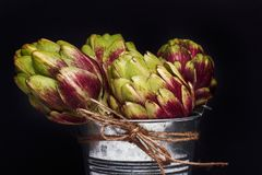 Artichokes in a galvanized tub. On a dark background royalty free stock photo