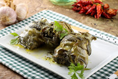 Artichokes with garlic and parsley Stock Photo