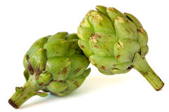Artichokes isolated on white royalty free stock image