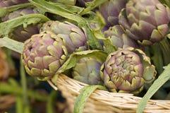 Artichokes on a market stall Royalty Free Stock Photo