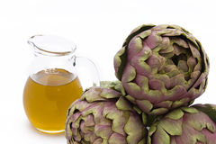 Artichokes And Olive Oil Stock Photography