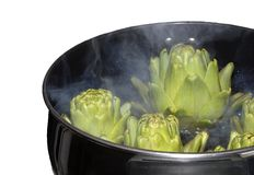 Artichokes in the Pot. A steaming pot full of artichokes Royalty Free Stock Photos